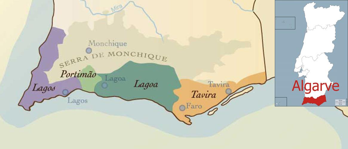 Algarve mapa regionu