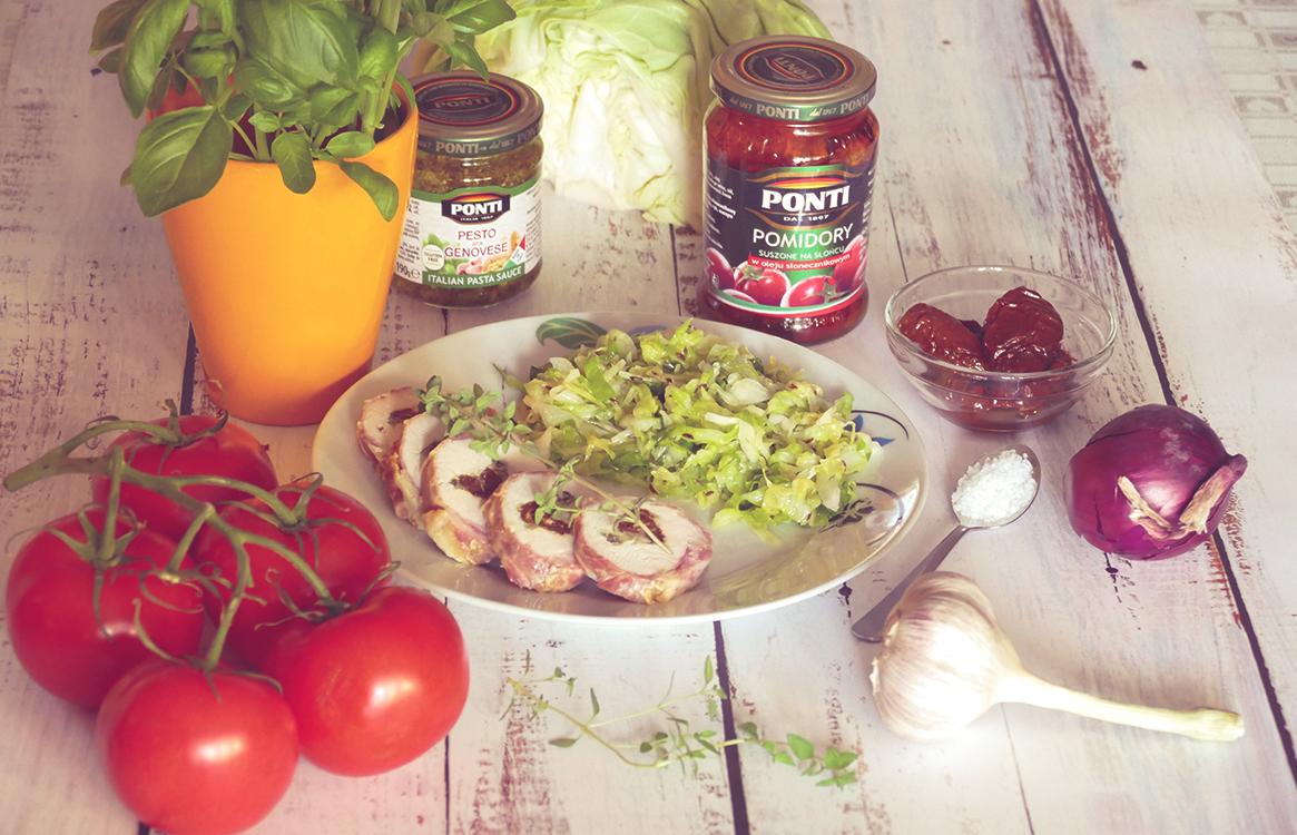 Roladka drobiowa z bekonem, pesto i suszonymi pomidorami